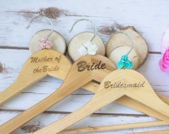 Bride Dress Hanger Rustic Wedding Dress Hangers Bridesmaid Hanger Wooden Hangers Mother of the Bride Maid of Honer Hanger Gift Hangers