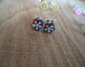Earrings Silver earrings with multicolor Fimo flower
