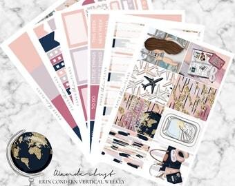 Wanderlust | Planner Sticker Kit MATTE | Erin Condren Vertical Weekly Planner Kit