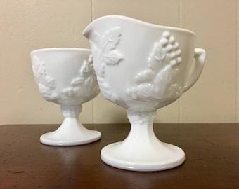 Milk Glass Pedestal Sugar Bowl & Creamer - Indiana Colony Harvest Grape Pattern