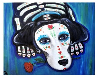 Dog Lovers , Day of the Dead,Valentine's Day, dia de los muertos  animal lovers art gift note cards or matted print of original oil painting