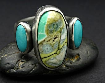 big cluster ring mens statement ring, Clay Canyon variscite ring turquoise ring black silver, rare gemstone ring, mens silver ring variscite