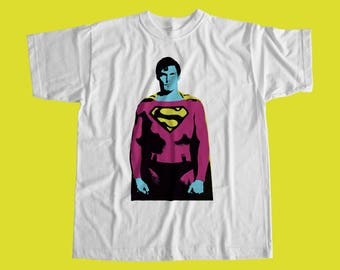 Superman Popart T Shirt - Superman Christopher Reeve Inspired / High Quality Custom Print