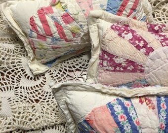 White Dresden Plate Quilted Pillow/ Newborn Girl Posing Pillow/ Tattered Quilt Pillow