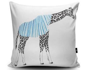 Giraffe Cushion, Animal Pillow, Giraffe pillow, Elephant Illustration, Vegan, Handmade Cushion Cover