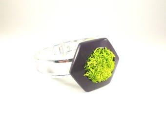 Lichen and polymer clay bracelet