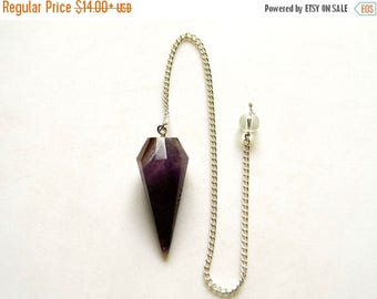 ON SALE 50% Amethyst Pendulum, Dowsing Pendulum, Chakra Pendulum, Chakra jewelry, Healing Necklace