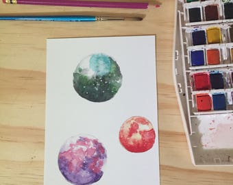 Triple Planet Print