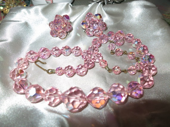 Vintage Laguna Necklace With Faceted Pink Crystal Glass Beads & clip on earrings