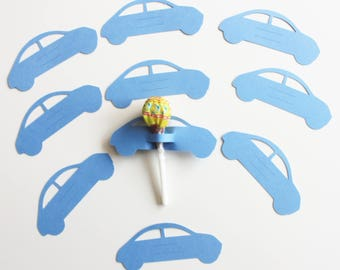 10 blue cars on cardstock for lollipops - party table decoration