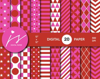 Red and hot pink digital scrapbook paper pack, Digital paper pack, Digital backgrounds, Printable paper, Commercial use MI-616