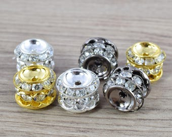 13x12mm Rondelle  Gold/Silver/Hematite  Plated  Beads with Clear Rhinestones, Rondelle Spacer Beads,  Metal Gold Spacer Beads