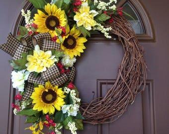 Sunflower Wreath for Door- Fall Grapevine Wreath - Summer Wreath - Everyday Front Door Decor -Patio Wreath - Housewarming Gift