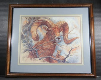 """Framed K Maroon Print Bighorn Sheep Baby Sheep 1983 Ram Signed Dated Matted 20"""" x 17"""""""