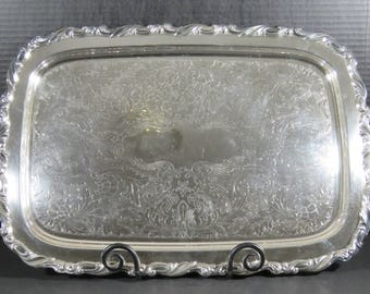 "Vintage Ornate Silver Plate Oneida Silversmiths Scoll 24"" Rectangle Butler Serving Tray with Handles Heavy"