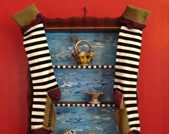 Handpainted Whimsical Shelf with MacKenzie Childs Socks Display for Miniatures