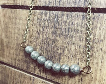 Pyrite Necklace, Fools Gold, Pyrite Jewelry, Classic Necklace, Bead Bar Necklace, Summer Jewelry, Boho Necklace, Dainty Necklace
