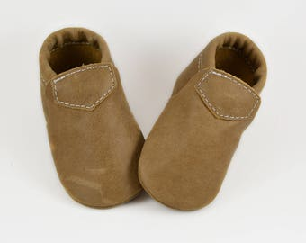 Baby Moccasins Fringeless Weathered Brown Loafer Genuine Leather Toddler Newborn Boy Girl Handmade Soft Sole Shoes Prewalker Slipper Booties