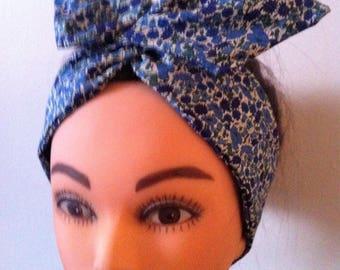 Wired Liberty of London fabric head band, vintage, headband, wrap, hair band, retro, bunny ears,