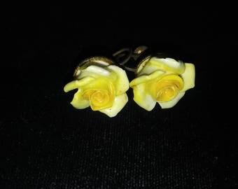 Vintage Screw Back Bone China Rose Earrings