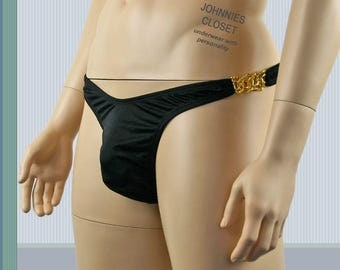Mens Thong with Gold Metal Sides