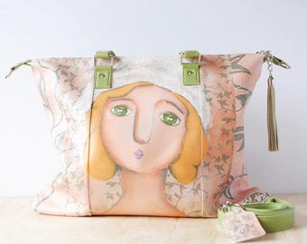Shoulder Shopping Bag, 'Pia' by ChiarArtIllustration