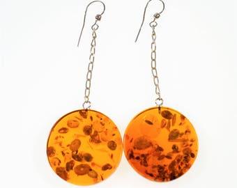 Big amber  earrings 19g