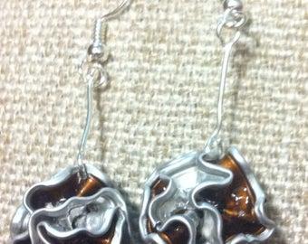 "Earrings capsule coffee ""?"" recycled amber balls"