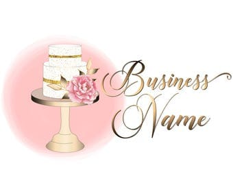 Premade cake logo, Custom logo design, bakery logo, sweets layer cake logo design, business logo design, cake with flowers pink logo,