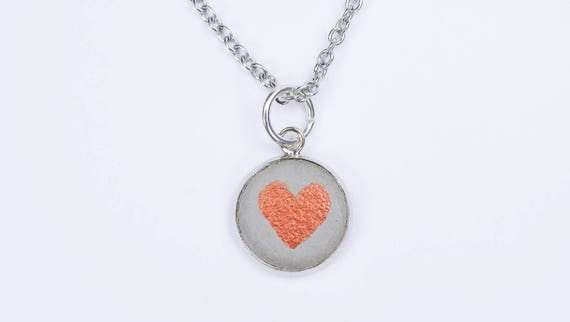 Necklace Concrete Heart-concrete pendant with heart in rust optics on silver-colored link chain made of stainless steel concrete jewelry grey Valentine's Day