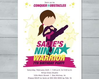 Girl Ninja Invitation  |  Ninja Warrior Invitation  |  American Ninja Birthday Invite  |  Ninja Invitation
