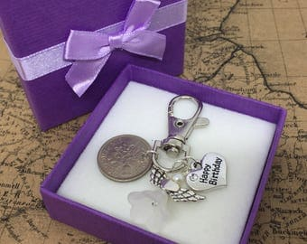 Happy Birthday Sixpence Personalised Lucky Charm Keyring Gift Angel Birthday Christmas Anniversary Wedding Key Ring