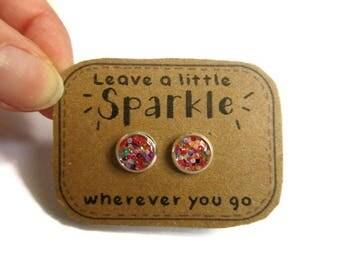 RAINBOW GLITTER EARRINGS - glitter jewelry - Earrings for Girls - Flower Girl Earrings - Earrings For Kids - Girl's Earring, little earrings