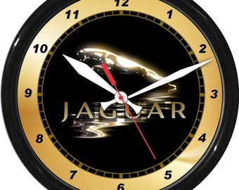 "12"" Jaguar Wall Clock Garage Work Shop Gift Father's Day Man Cave Rec Room"