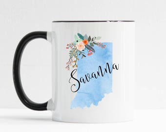Indiana Mug / Personalized Mug / Custom State Mug / Friend Gift / Indiana Gift /  11 or 15 oz / History Teacher Gift / Moving Gift