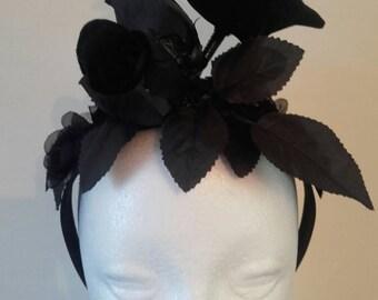 Raven headband, gothic fascinator, gothic headpiece, Halloween headband, gothic hat, steampunk fascinator