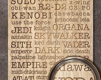 Star Wars Death Star Typography Woodblock Art