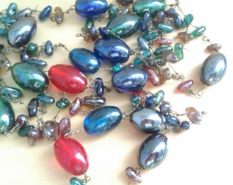 vintage long luster glass bead necklace