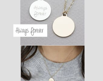 Hand Writing Disk Necklace/Personalized Disk Necklace/Custom Signature Necklace/Initial Necklace in Silver, Gold Fill or Rose Gold Fill