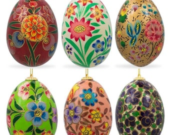 "3"" Set of 6 Oriental Flowers Wooden Pysanky Ukrainian Easter Eggs"