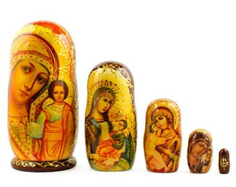 "5"" Set of 5 Virgin Mary with Jesus Icon Wooden Russian Nesting Dolls"