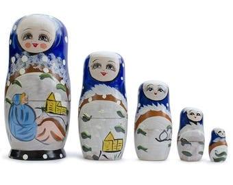 "6.5"" Set of 5 Winter Village Scene Russian Nesting Dolls Matryoshka"