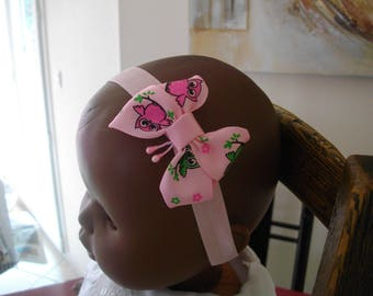 "Baby girl Butterfly ""two little owls"" headband"