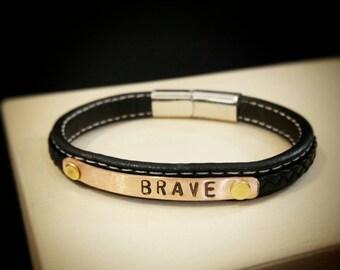 Personalized leather bracelet for women & men.