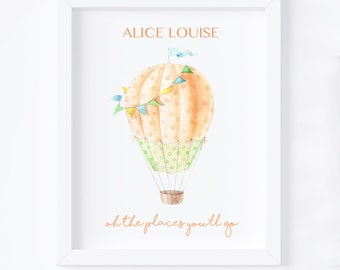 Nursery Print, Digital Print, Balloon Print, Oh the places you'll go print, baby name print, baby gift, nursery print, nursery frame