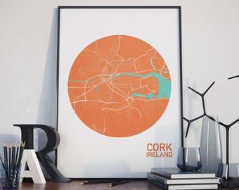 Cork, Ireland City Map Print