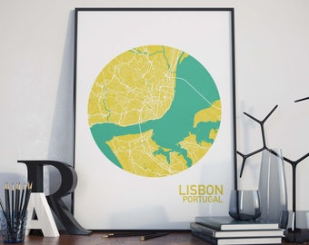 Lisbon, Portugal City Map Print