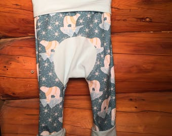 Maxaloones, miniloones, grow with me pants, baby harem pants, Polar bear baby pants, polar bear maxaloones size 1, Borealis Britches