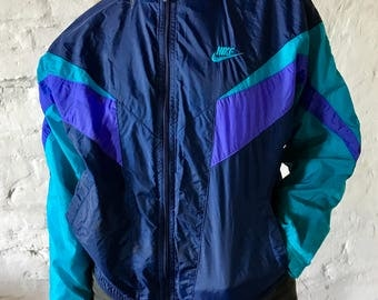 Nike Vintage Womens Track Suit Top / Jacket / Warm up / Zip Up / Shell / Navy / Turquoise / Purple / Small