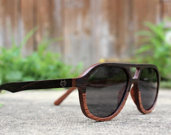 Paul Ven Fox Two Woods Aviator Dark Woods Sunglasses, polarised wooden sunglasses, man woman wood sunglasses, free eu shipping